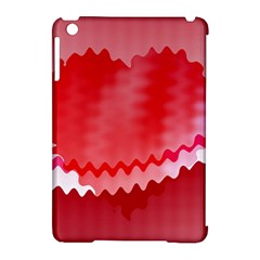 Red Fractal Wavy Heart Apple Ipad Mini Hardshell Case (compatible With Smart Cover) by Simbadda