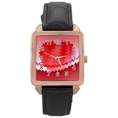 Red Fractal Wavy Heart Rose Gold Leather Watch  by Simbadda