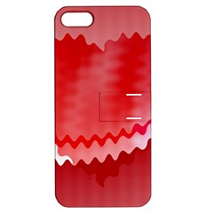 Red Fractal Wavy Heart Apple Iphone 5 Hardshell Case With Stand by Simbadda
