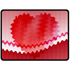 Red Fractal Wavy Heart Double Sided Fleece Blanket (large)  by Simbadda