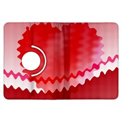 Red Fractal Wavy Heart Kindle Fire Hdx Flip 360 Case by Simbadda