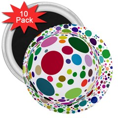 Color Ball 3  Magnets (10 Pack)  by Mariart