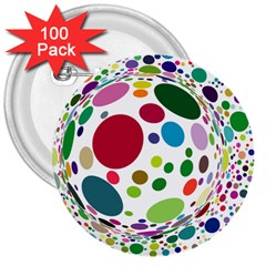 Color Ball 3  Buttons (100 Pack)  by Mariart