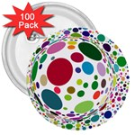 Color Ball 3  Buttons (100 pack)