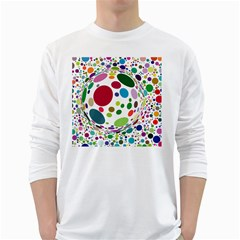 Color Ball White Long Sleeve T Shirts
