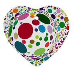 Color Ball Heart Ornament (two Sides)