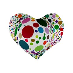 Color Ball Standard 16  Premium Flano Heart Shape Cushions by Mariart