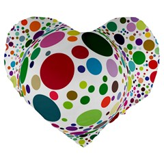 Color Ball Large 19  Premium Flano Heart Shape Cushions