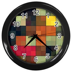 Background With Color Layered Tiling Wall Clocks (black) by Simbadda