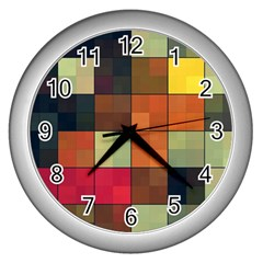 Background With Color Layered Tiling Wall Clocks (silver)  by Simbadda