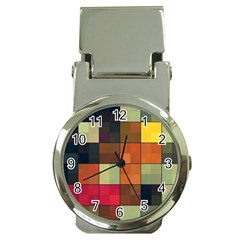 Background With Color Layered Tiling Money Clip Watches by Simbadda
