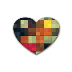 Background With Color Layered Tiling Rubber Coaster (heart)  by Simbadda