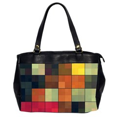 Background With Color Layered Tiling Office Handbags (2 Sides)  by Simbadda