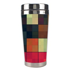 Background With Color Layered Tiling Stainless Steel Travel Tumblers by Simbadda