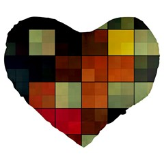 Background With Color Layered Tiling Large 19  Premium Flano Heart Shape Cushions by Simbadda