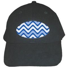 Background Of Blue Wavy Lines Black Cap by Simbadda