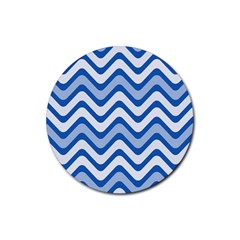 Background Of Blue Wavy Lines Rubber Coaster (round)  by Simbadda
