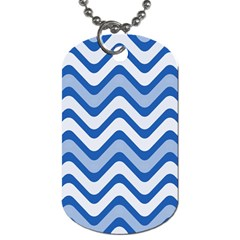 Background Of Blue Wavy Lines Dog Tag (Two Sides) by Simbadda