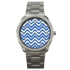 Background Of Blue Wavy Lines Sport Metal Watch by Simbadda