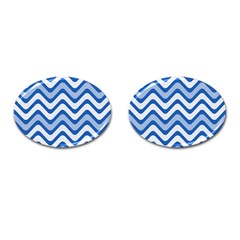 Background Of Blue Wavy Lines Cufflinks (oval) by Simbadda