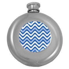 Background Of Blue Wavy Lines Round Hip Flask (5 oz) by Simbadda