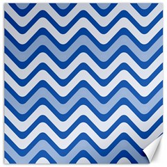 Background Of Blue Wavy Lines Canvas 16  X 16   by Simbadda