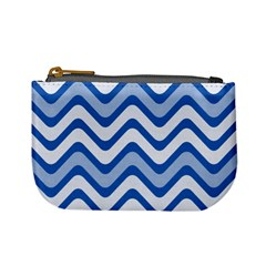 Background Of Blue Wavy Lines Mini Coin Purses by Simbadda