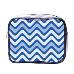 Background Of Blue Wavy Lines Mini Toiletries Bags by Simbadda