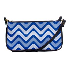 Background Of Blue Wavy Lines Shoulder Clutch Bags by Simbadda