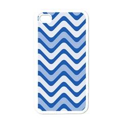 Background Of Blue Wavy Lines Apple Iphone 4 Case (white) by Simbadda
