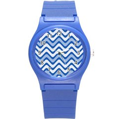 Background Of Blue Wavy Lines Round Plastic Sport Watch (s) by Simbadda