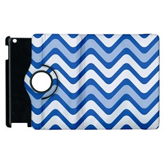 Background Of Blue Wavy Lines Apple Ipad 2 Flip 360 Case by Simbadda
