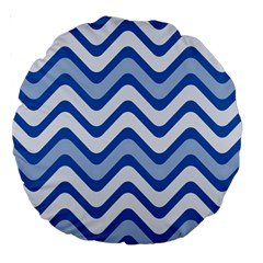 Background Of Blue Wavy Lines Large 18  Premium Round Cushions by Simbadda