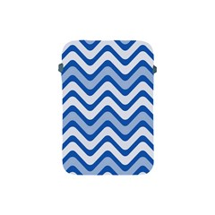 Background Of Blue Wavy Lines Apple Ipad Mini Protective Soft Cases by Simbadda
