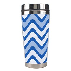Background Of Blue Wavy Lines Stainless Steel Travel Tumblers by Simbadda