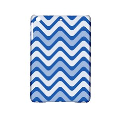 Background Of Blue Wavy Lines Ipad Mini 2 Hardshell Cases by Simbadda