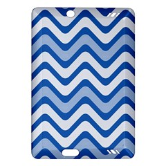 Background Of Blue Wavy Lines Amazon Kindle Fire Hd (2013) Hardshell Case by Simbadda