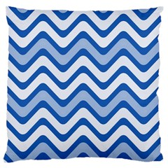 Background Of Blue Wavy Lines Standard Flano Cushion Case (one Side) by Simbadda