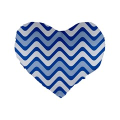 Background Of Blue Wavy Lines Standard 16  Premium Flano Heart Shape Cushions by Simbadda