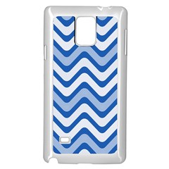 Background Of Blue Wavy Lines Samsung Galaxy Note 4 Case (white) by Simbadda