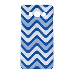 Background Of Blue Wavy Lines Samsung Galaxy A5 Hardshell Case  by Simbadda