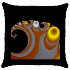 Classic Mandelbrot Dimpled Spheroids Throw Pillow Case (black) by Simbadda
