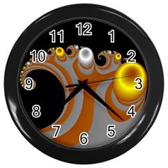 Classic Mandelbrot Dimpled Spheroids Wall Clocks (black) by Simbadda