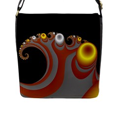 Classic Mandelbrot Dimpled Spheroids Flap Messenger Bag (l)  by Simbadda