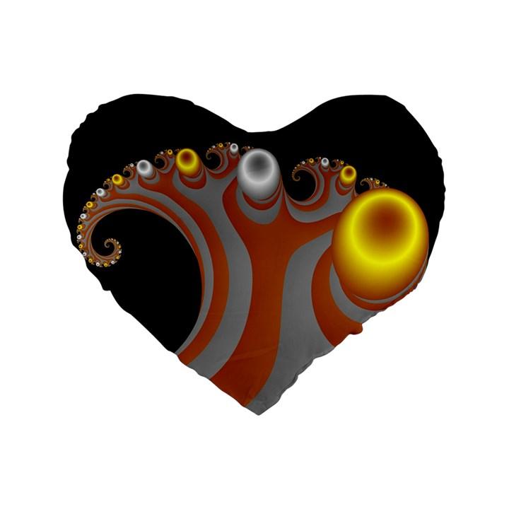 Classic Mandelbrot Dimpled Spheroids Standard 16  Premium Flano Heart Shape Cushions