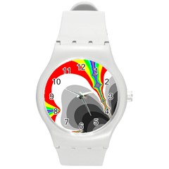 Background Image With Color Shapes Round Plastic Sport Watch (m) by Simbadda