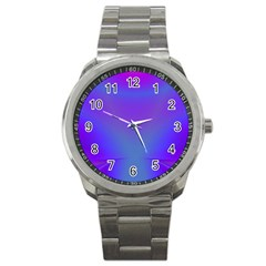 Violet Fractal Background Sport Metal Watch by Simbadda