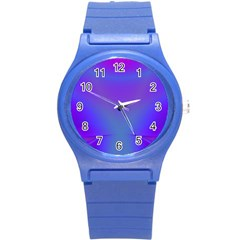 Violet Fractal Background Round Plastic Sport Watch (s) by Simbadda