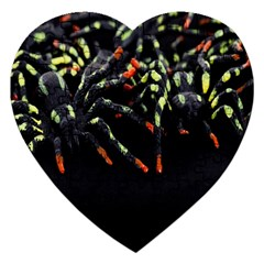 Colorful Spiders For Your Dark Halloween Projects Jigsaw Puzzle (heart) by Simbadda