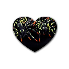 Colorful Spiders For Your Dark Halloween Projects Rubber Coaster (heart)  by Simbadda